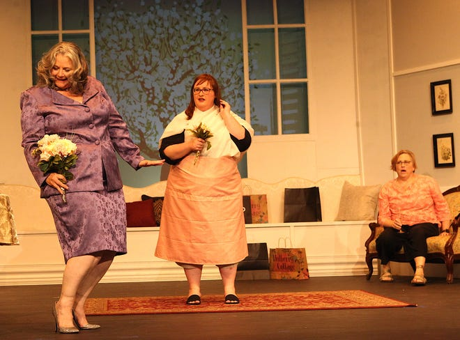 """From left: Monette Gentry, (Laura Henley), discusses her upcoming wedding, as Deedra Wingate, (Megan Regan), and Charlie Collins, (Karen Johnson), look on. The full dress rehearsal for """"Always A Bridesmaid"""" occurred Tuesday evening at Little Theatre of Bedford. The ensemble comedy opens Friday. Six performances are planned."""