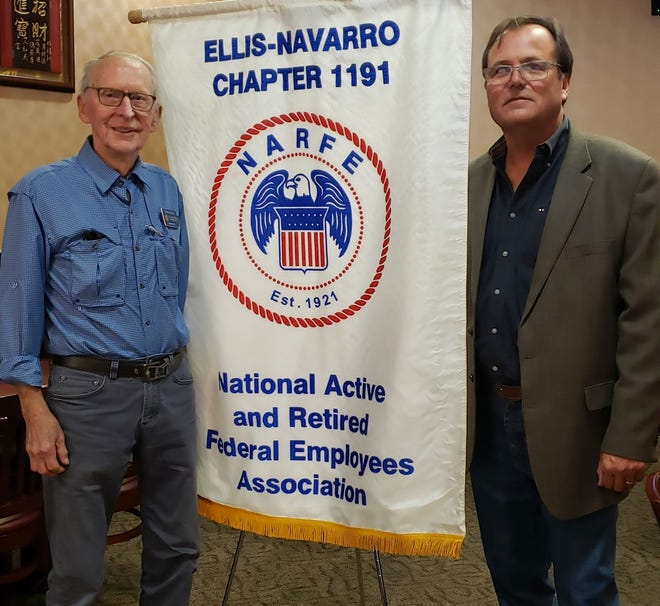 Pictured are, from left, Ralph Nelson, NARFE program coordinator from Waxahachie, and guest speaker Kevin Strength, Waxahachie Chamber of Commerce president CEO.