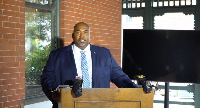 """Lt. Gov. Mark Robinson gives a press conference following his comments calling LGBTQ+ education """"filth."""""""