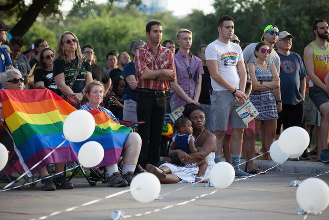 Activists and members of Austin's LGBTQ community gathered in 2017 on the steps of the Texas Capitol to celebrate the anniversary of the 1969 Stonewall riots.