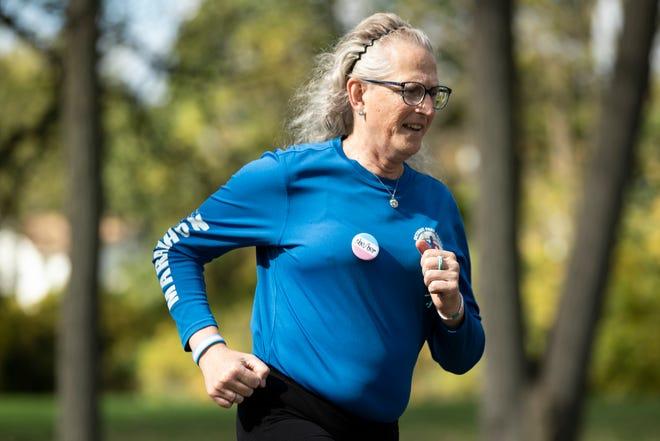 Half-marathon runner Sara Anne Fay of Detroit at Parr Park in Dearborn Heights on Oct. 13, 2021.