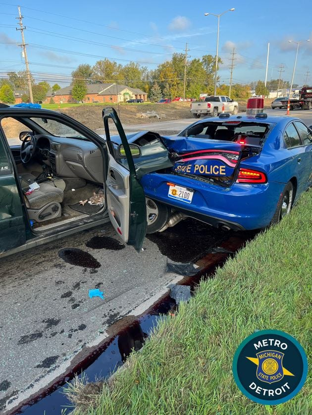 Driver crashes into state police car in Sterling Heights construction zone