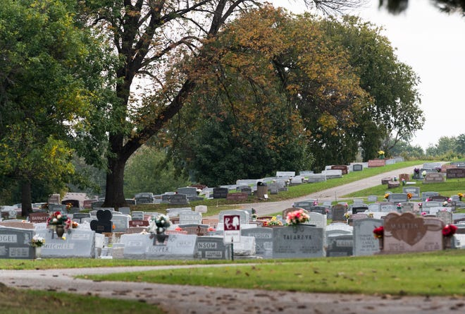 Park Lawn Cemetery in Evansville, Ind., Wednesday morning, Oct. 13, 2021.