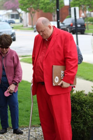 Archbishop Lee Bowling of The Church of God of the Apostolic Faith bows his head in prayer during the May 2019 National Day of Prayer ceremony in Fremont. The Church of God of the Apostolic Faith is holding a community prayer service Saturday from 4-8 p.m. at Birchard Park