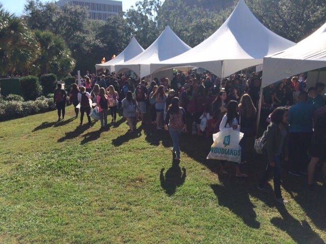 Students attend the Student Living Fair on FSU's campus in 2015.