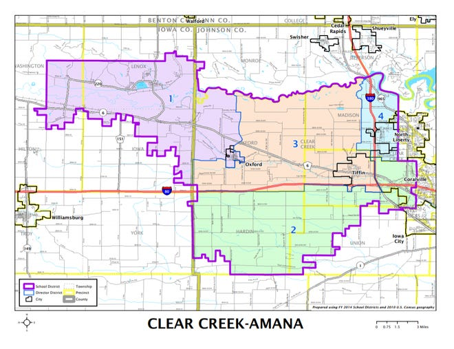 Members of the Clear Creek Amana Community School District's school board are elected to represent different districts. This map can be found on the Johnson County auditor's webpage.
