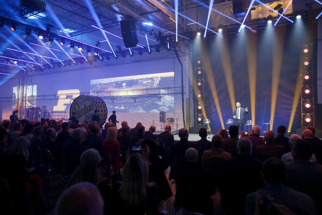A look inside the grand opening for the new Saab fighter jet plant, Wednesday, Oct. 13, 2021 in West Lafayette. The plant, located at Purdue University's Aerospace District, will host the production of Saab's aft airframe section for the T-7A Red Hawk trainer program and research.