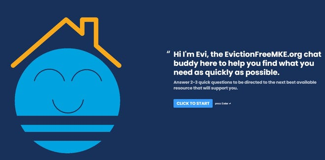 A screenshot of the automated EvictionFreeMKE.org tool.