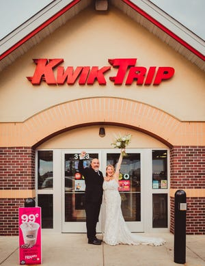 Photographer Autumn Ferreira, owner of Willow Walk Photography, took Mark Steinke and Ashley Ormes' wedding photos at a Janesville Kwik Trip.