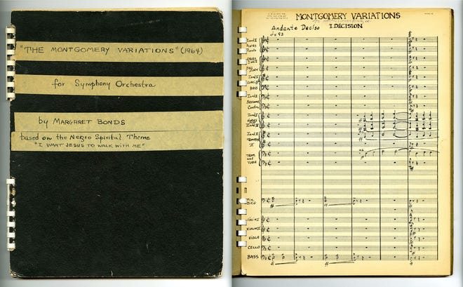 """Margaret Bonds' composition book for her 1964 piece """"The Montgomery Variations,"""" which will be performed Monday by the Montgomery Symphony Orchestra."""