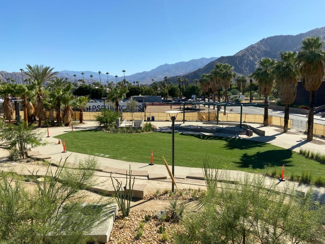 A new 1.5-acre parkat the intersection of Museum Way and Belardo Road, pictured on Wednesday, Oct. 13, will be opened to the public on Thursday, Oct. 21, 2021 in Palm Springs, Calif.