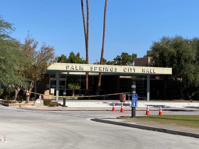 A portion of the Palm Springs City Hall was  evacuated after a suspicious device was found on the front lawn on Wednesday, Oct. 13, 2021, in Palm Springs, Calif.
