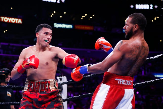 Anthony Dirrell fights against David Benavidez during the WBC World Super Middleweight Championship boxing match Saturday, Sept. 28, 2019, in Los Angeles.