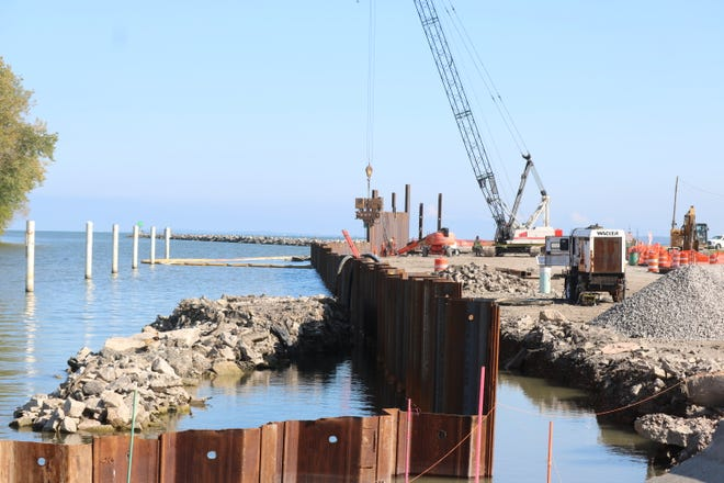 Port Clinton's multimillion-dollar waterfront walk project is underway at the Jefferson Street pier along the Portage River near downtown.