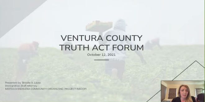 Brooke Lautz, a member of the ICE out of Ventura County coalition, speaks via Zoom during an Oct. 12, 2021 TRUTH Act forum.