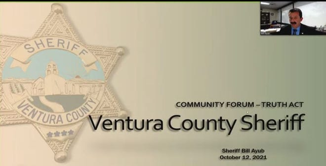 Ventura County Sheriff Bill Ayub speaks via Zoom at the Oct. 12, 2021 TRUTH Act forum.
