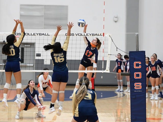 COS volleyball player Mia Gilcrest (No. 17)  and the Giants are ranked No. 9 in the state.