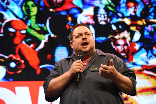 This photo taken on January 10, 2018 shows Marvel's C.B. Cebulski, speaking at a forum in Manila. The editor-in-chief once used a Japanese persona to write dozens of comics for the company.