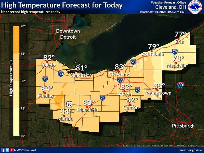 High temperatures will reach the lower 80s across northern Ohio on Thursday.