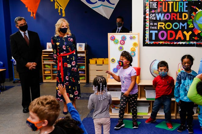 First lady Jill Biden, Rep. Susan Wild, D-Pa., and Secretary of Health and Human Services Xavier Becerra visit The Learning Hub in Allentown on Wednesday, Oct. 13, 2021.