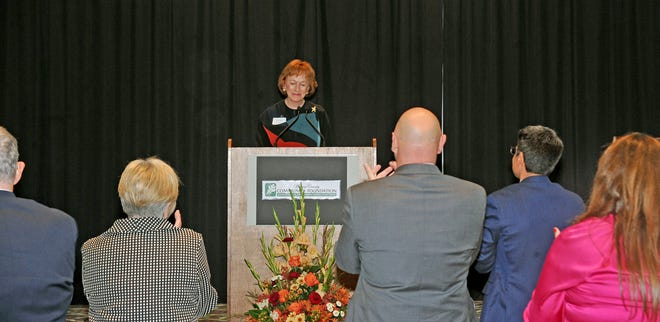 Retiring executive director Sara L. Patton was given a standing ovation as she prepared to give her speech at the banquet.