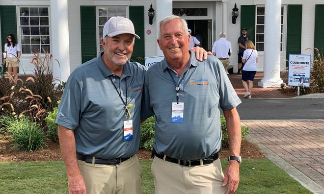 Constellation Furyk & Friends volunteer chairman Robert Davis (left) and operations chairman Buzz Berger brought their skills and experience in working at The Players Championship to the inaugural PGA Tour Champions event.
