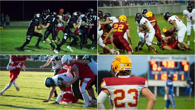 Pictured: (Top Left) Waldron's Spartan Offense led by Quarterback Noah Knepper; (Top Right) Jonesville linebacker and running back Christian Adams (#44); (Bottom Left) Rams Senior running back Cody Newell (#20); (Bottom Right) Reading Junior defensive end Luke Potter (#23).