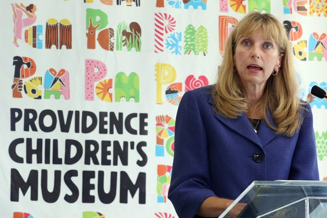 Dr. Elizabeth B. Lange, a pediatrician, president of the Rhode Island Medical Society and an American Academy of Pediatrics fellow, speaks at a news conference Thursday to announce Gov. Dan McKee's vaccination plan for children ages 5 to 11.