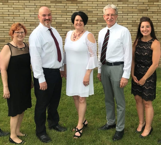 Tuscarawas Valley School Board members. Pictured, from left:Sally Green,Benjamin Overton, Amy Burrier, Richard GoodingandKathryn Johnson.