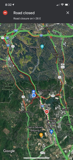 A Google Maps screenshot shows traffic backed up along multiple roads around the Interstate 26 closure Oct. 14 at 8:32 a.m.