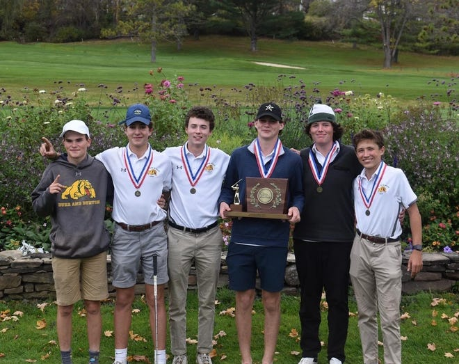 Burr and Burton Academy poses after claiming the team title at the Division I high school boys golf championships at Manchester on Thursday. BBA edged three-time defending champ CVU by one shot.