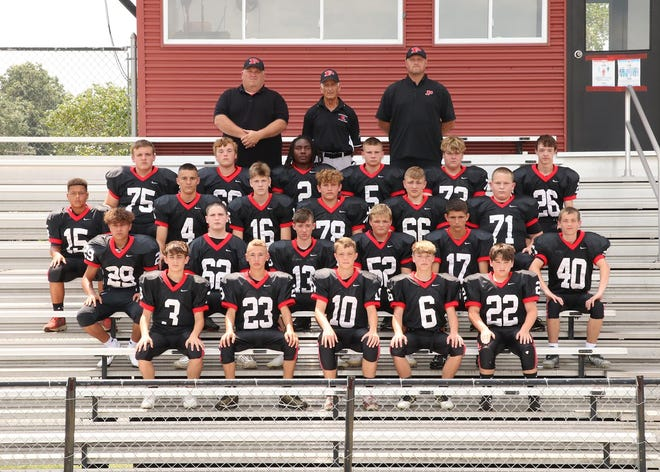The Pleasant eighth grade football team won the Mid Ohio Athletic Conference this season. Members of the team are, bottom row from left, Alec Columber, Brody Vance, Avery Hamper, Griffin Osborne and Keegan Fogle; second row from left, Alex Smith, Zander Maze, Ethan Hall, Branson Steele, Jaden Griffith and Noah Roettger; third row from left, Jae'leon Woodfork, Brennan Ringer, Evan Sickmiller, Kolby Potter, Gabe Branam and Bobby Cox; fourth row from left, Noah Jordan, Kaiden Osborn, Marcus Hemphill, Adam Scowden, Drayson Ford and Cole Baily; and top row from left, Coach Bob Cox, Coach Phil Barlow and Coach Matt Collins. Not pictured Coach Chad Fogle.