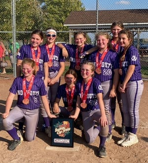 The Knockouts 12U Purple Softball team won the Buckeye Cup. Members of the team are, standing from left, Abigail Bryant (Marysville), Kennedy Lesch (Norwalk), Paytn Lechleitner Smith (Marion Harding), Allison Hecker (Marion Harding), Caralyn Hinkle (North Union), Harper Rogers (River Valley); kneeling from left, Emersyn Isom (River Valley), Chloe Addis (River Valley) and Delaney Lozier (Buckeye Valley).