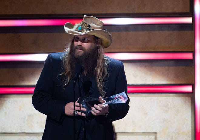 Chris Stapleton received the CMT Artist of the Year Award during a ceremony at the Schermerhorn Symphony Center in Nashville, Tenn, on Wednesday, October 13, 2021.