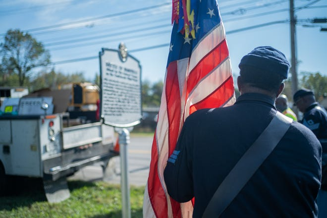 Bill Radcliffe stands in front of Battle of Nashville historical marker after it was erected Thursday, Oct. 14, 2021, in Nashville.