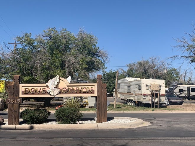 Dove Canyon Mobile Home Park on South Main Street on Oct. 14. 2021. The park was previously managed by a woman who is charged with scamming rent money from tenants.