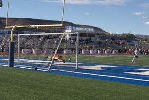 Rylan Tebbs buries a penalty shootout against Dixie. Tebbs tied the game in the 52nd minute.
