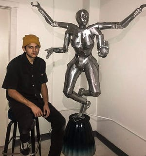 """A pop-up art event will be held from 7 to 11 p.m. Friday, Oct. 15, 2021, at Amano Artist Co-op for the unveiling of """"Sheeva,"""" a sculpture created by artist Charles Roman."""