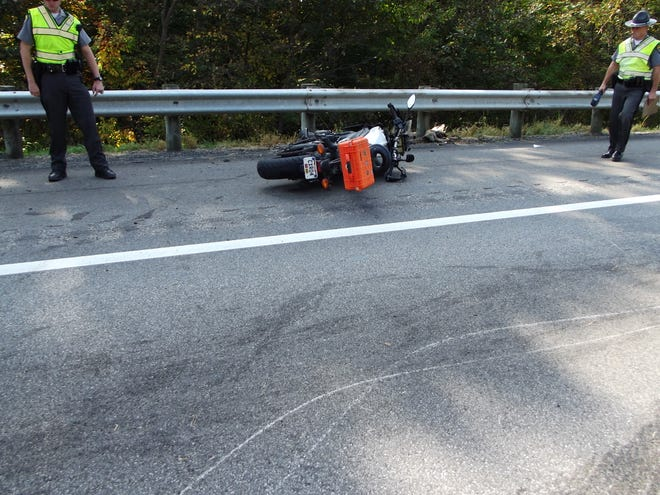 One of the motorcycles involved in a crash on Interstate 70 that sent a man with serious injuries to Grant Hospital on Thursday morning.