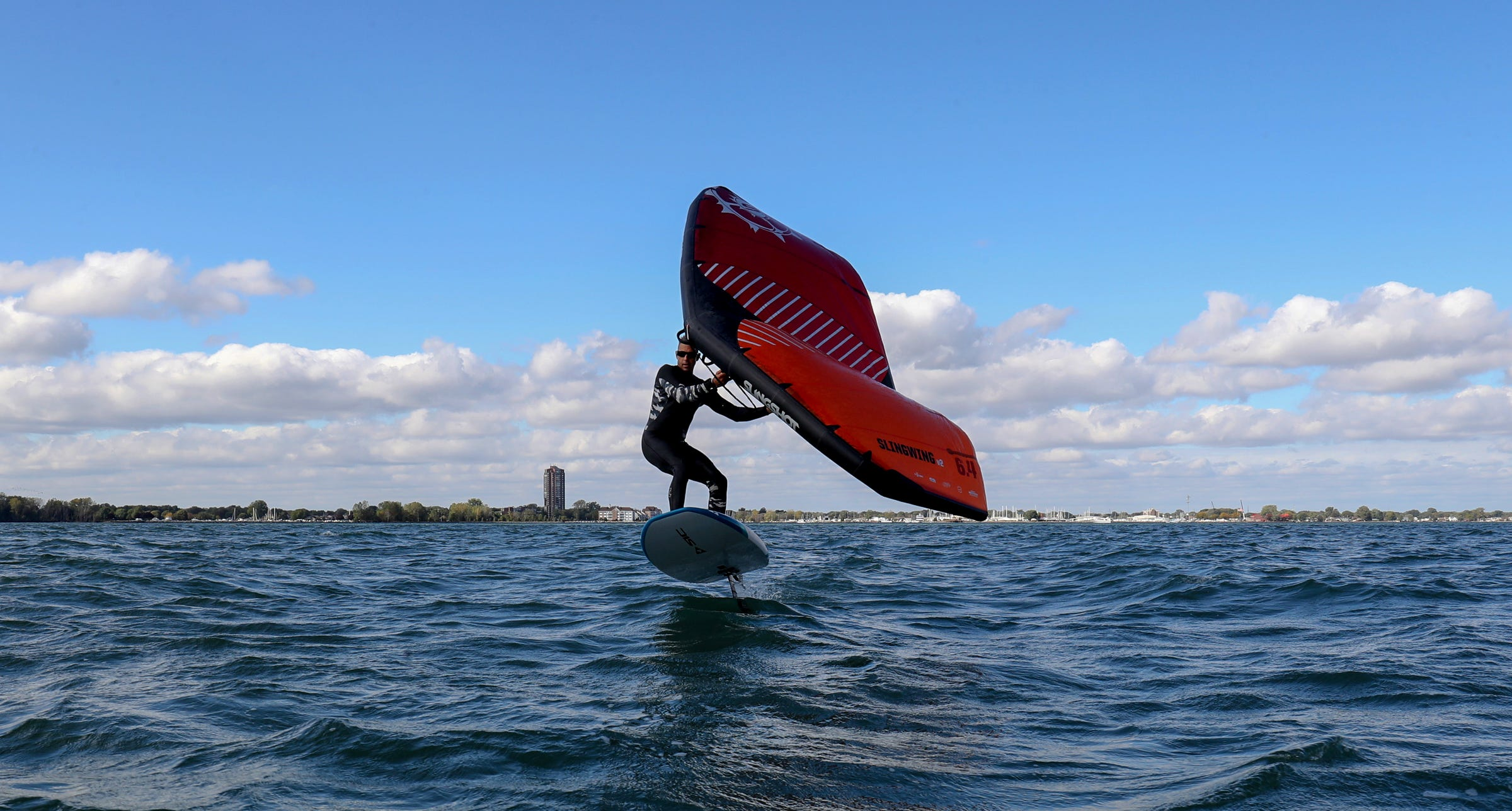 Welcome to the world of wing surfing. It's taking over Lake St. Clair.