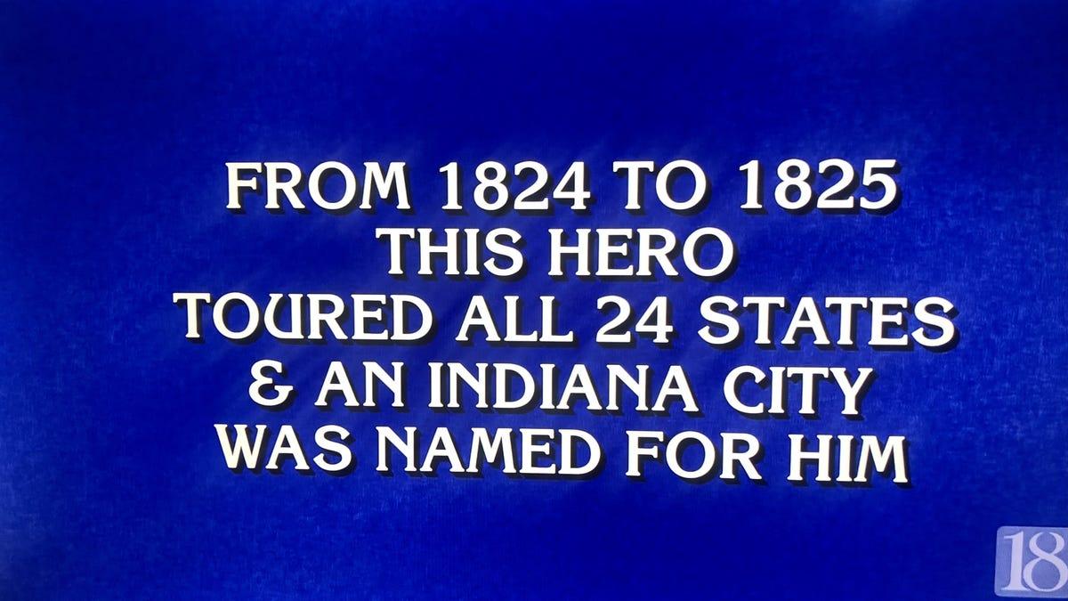 Final 'Jeopardy!': 'Who is Lafayette?' Not Louisiana's Lafayette, but almost.