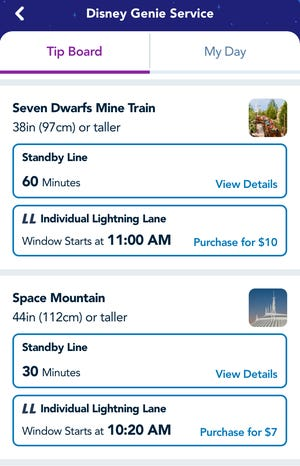 Disney Genie shows the standby wait times and Lightning Lane pricing for two of Magic Kingdom's most popular rides on the morning of the new planning tool's debut at Walt Disney World.