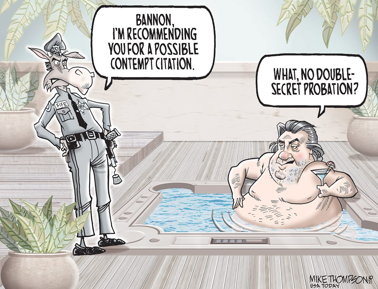 Democrats get tough on Bannon: Mike Thompson toon