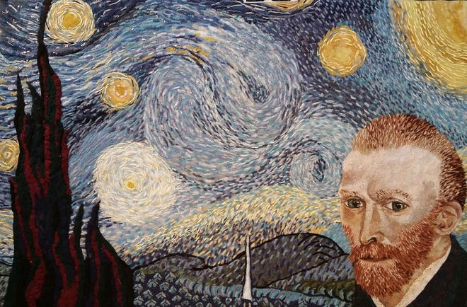 """Pocono artist Heidi Hooper's recreation of """"The Starry Night"""" by Vincent Van Gogh is made out of dryer lint."""