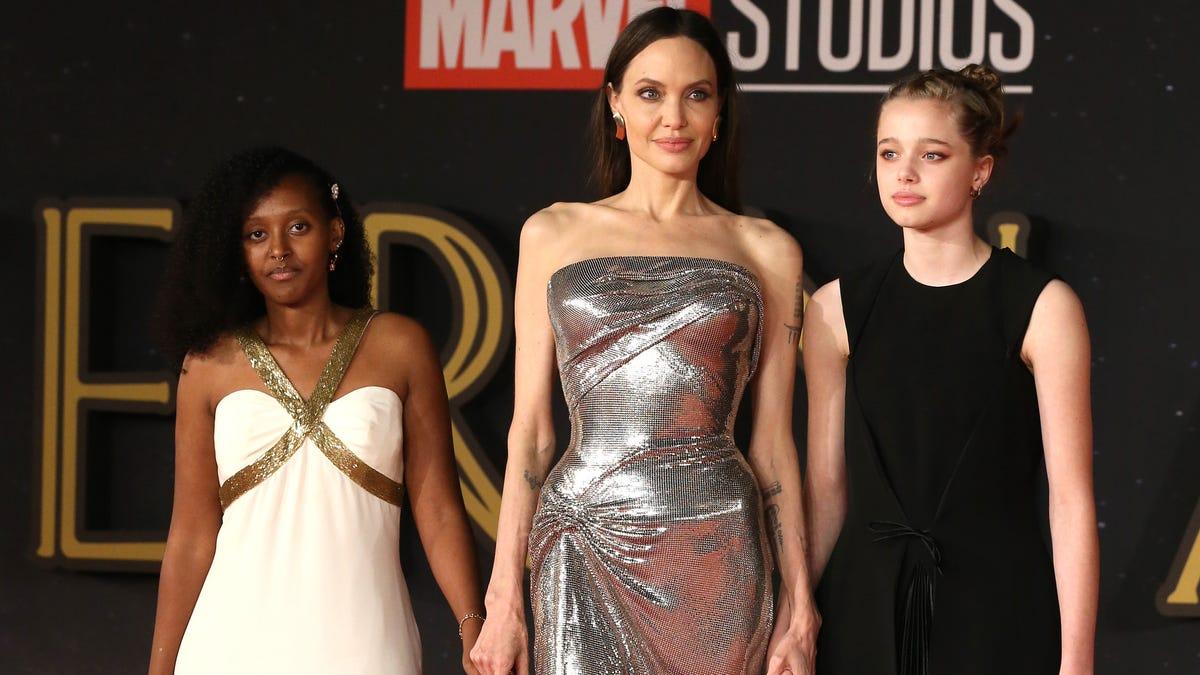 Angelina Jolie's daughters, Shiloh Jolie-Pitt's sneakers rock Rome 'Eternals' premiere