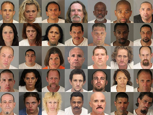Fifty-five Riverside County repeat offenders, each of whom petitioned to have at least five felonies reduced under Prop 47, are pictured in a mugshot mosaic. Photos provided by the Riverside County Sheriff's Department