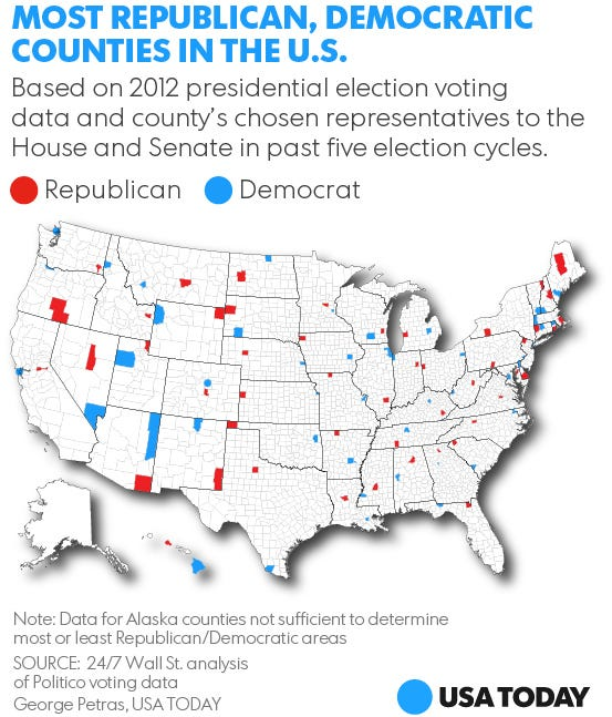 The most Democratic counties in each state