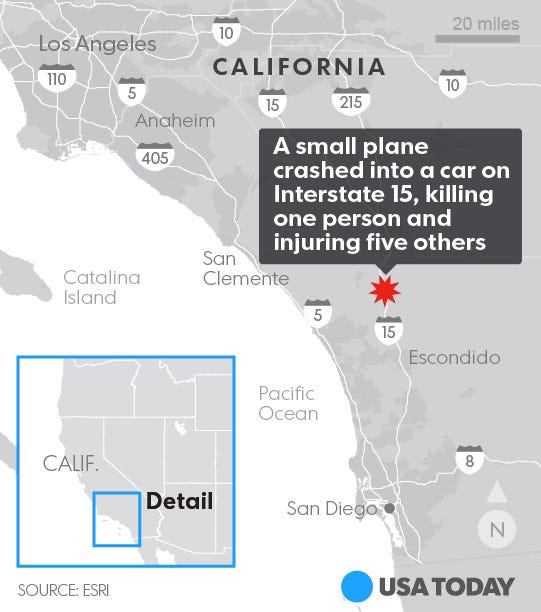 One dead after small plane hits car on Calif  freeway