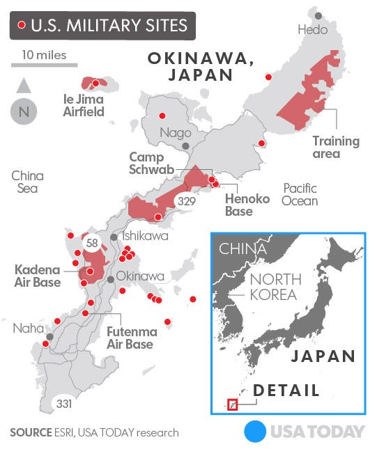 US Navy Bans Alcohol In Japan After Crime Spree - Us military bases in okinawa map