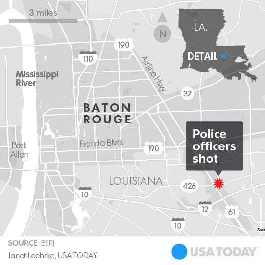3 Police Officers Fatally Shot In Baton Rouge; Dead